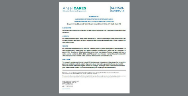 Clinical Summary_Cao_Allergic Contact Dermatitis to Synthetic Rubber Gloves