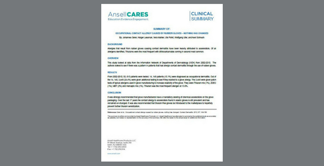 Clinical Summary_Geier_Occupational Contact Allergy Caused by Rubber Gloves   Nothing has Changed